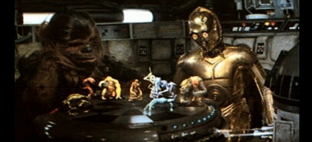 (C3-PO and Wookie playing chess in Star Wars movie)